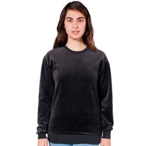 Unisex Black Velour American Apparel Crew Sweater